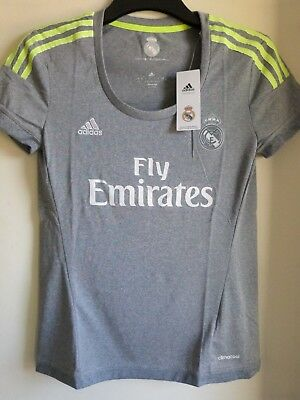ADIDAS Real Madrid Women's/Girls Official Climacool Away football Jersey Top New
