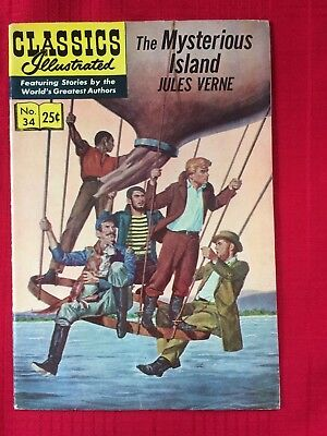 Classic Comics #34 - The Mysterious Island  (Gilberton 1968) HRN 166 Jules Verne