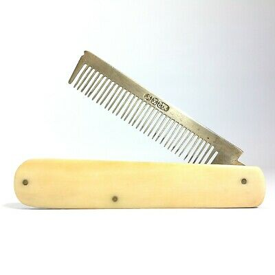 Antique / Vintage Folding Beard / Mustache  Comb with Bone Handle
