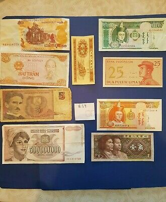 Nice old 9 Bank Note Currency Money lot bundle mix world collectable earth $ B39