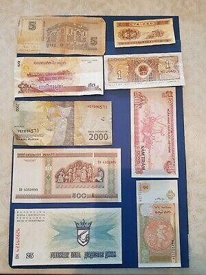 Nice old 9 Bank Note Currency Money lot bundle mix world collectable earth $ B41