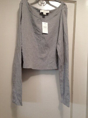 CUTE! NWT 'NICKI MINAJ' gray heather SHORT CROP LongSlv T-SHIRT  Size L Orig $22