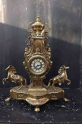 mantle clock large brass horses and eagles mounts