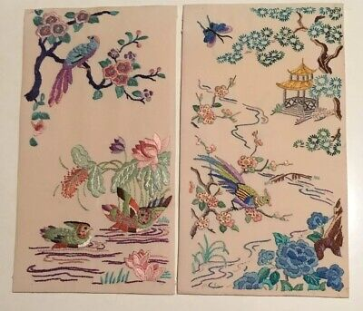 Beautiful Vintage Small Embroidered Oriental Panels Birds Country Cottage Chic