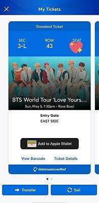 2 BTS CONCERT TICKETS ROSE BOWL LA MAY 5 below face value! SPEAK YOURSELF