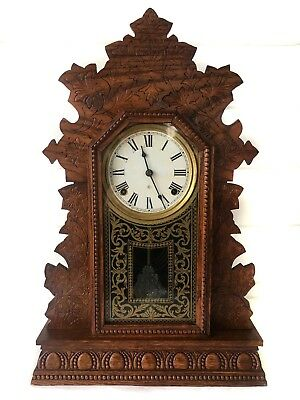 "Lovely Antique ""geranium"" Model 8 Day American Strike Shelf Clock By Gilbert"