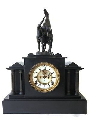 Antique Ansonia 8 Day American Visible Escapement Clock With Horse Sculpture