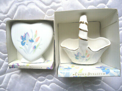 Crown Dynasty Fine Verity Bone China Heart Vase and Flower Basket Lot of 2