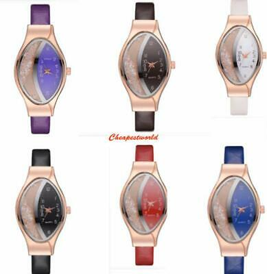 Women Girl Analog Quartz Ladies Wrist Watches Fashion Leather Strap Black White