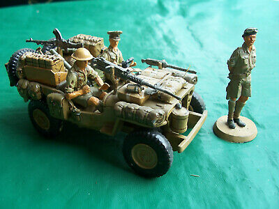 1/32 54mm WW2 Britains Jeep converted to S.A.S./ L.R.D.G and metal figures