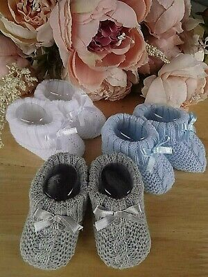 Baby Boy Cable Knit White Grey Blue Turn Down Booties Socks Ribbon Bow 0-6m