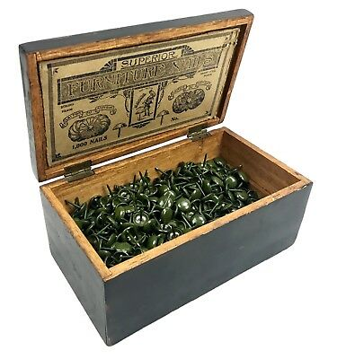 Antique Wooden Box With Superior Furniture Nails / Pins / Tacks