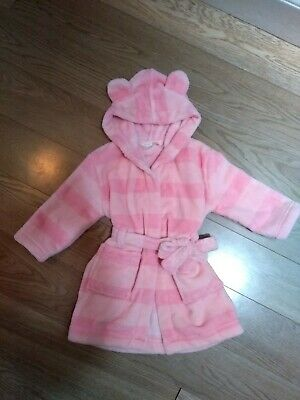 Baby Girl John Lewis Pink Striped Robe/ Dressing Gown 12-18 Months