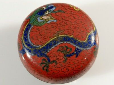 Antique Chinese Cloisonne Round Box With Dragon