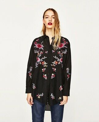 c936bd0b4793f5 Lovely Zara Floral Embroidered Shirt Blouse Top Size 8-10 S Mulberry Silk