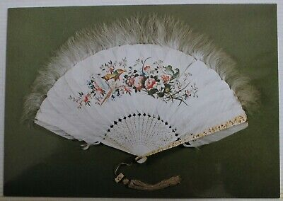 Chinese Ivory Gilt Goose Feather Brise' Fan V&A Museum Postcard