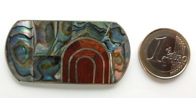 Brosche Mexico Alpacca  Perlmutt Abalone Holz Seeopal Mosaik Brooch Alpaca wood