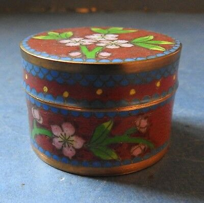 Unusual Chinese Cloisonne Small Circular Box - Marked - Late 19Th Century