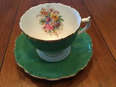 COALPORT TEA CUP SAUCER SET green Teacup footed floral Gilt