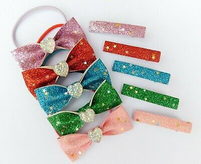 10 Piece Glitter Hair Bow Clips & Bobble Elastics Red Pink Lilac Green Blue