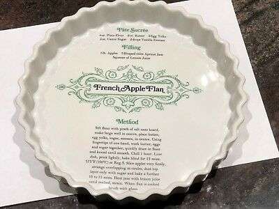 "Baking Dish Recipe FRENCH APPLE FLAN Ruffled Edge White 9.5"" VGUC"