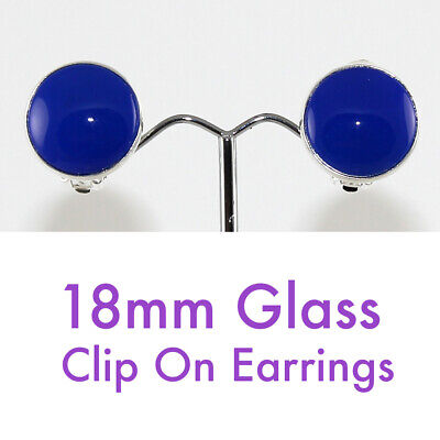 18mm Glass Clip On Earrings- Black/Blue/Green/Red - *Free Post*