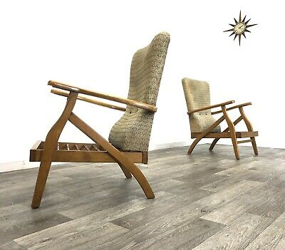 Pair of Mid Century Danish Era Blonde Reclining Armchairs Easy Chairs Project