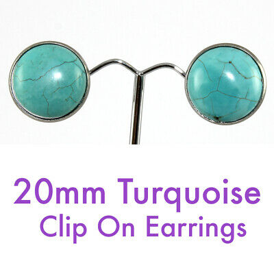 20mm Turquoise - Antique Silver Framed Round Clip On Earrings *Free Post*