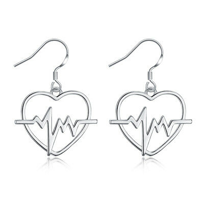 Fashion Hollow Love Heart ECG Pattern Drop Dangle Tassel Hook Earrings Jewelry