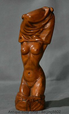 "8"" China Boxwood Wood Art Hand-carved Sexy Beauty Belle Disrobe Undress Statue"