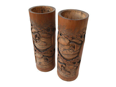"""Vintage Asian Hand-carved Bamboo Wood Brush Pots with Men in River Boats 13"""" 2pc"""