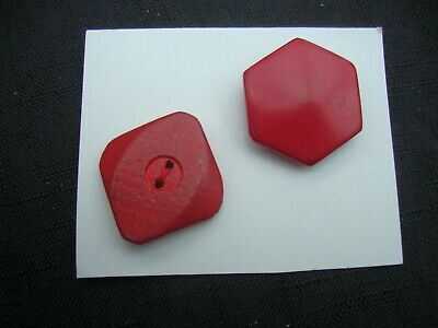 2 X Vintage Wooden Large Red Retro Buttons