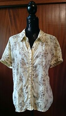 St-Johns Bay Yellow Brown Floral Button Up Cotton Short Sleeve Shirt Size XL
