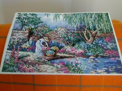 Vintage English Walled  Garden Completed Wool Tapestry 17 ins x 11.25 ins
