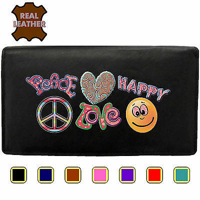 Love Peace and Happy Klassek Real Leather Womans Purse lady Wallet Hippy Surfing