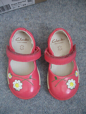 1b890fe8e Clarks Softly Jam First Shoes Hot Pink Leather Daisy Flower Girls Size 4.5 G