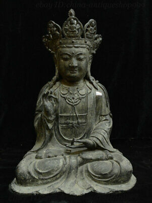 "20"" Antique Chinese Purple Bronze Kwan-yin Guan Yin Goddess Boddhisattva Statue"