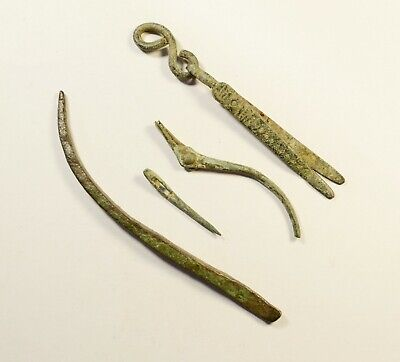 Selection of 3 Ancient Roman Bronze Medical/Dental Tools - 2nd-4th C AD