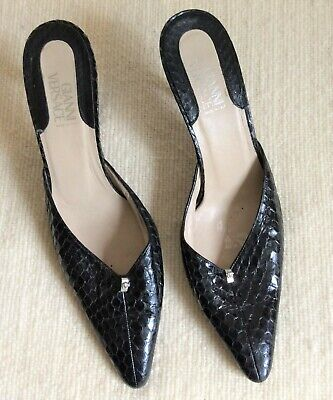 22c3903414f VERSACE BLACK LEATHER Kitten Heel Shoes Slides ~ Size 39 ~ Made In ...