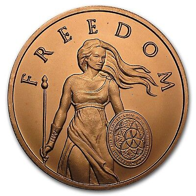 SILVER SHIELD Standing Freedom 1 oz 99.9% Pure Copper Round BULLION/MEDAL COINS
