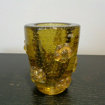 Murano Yellow Art Glass Vase Controlled Bubble Applied Prunts Flowers Pontil Exc