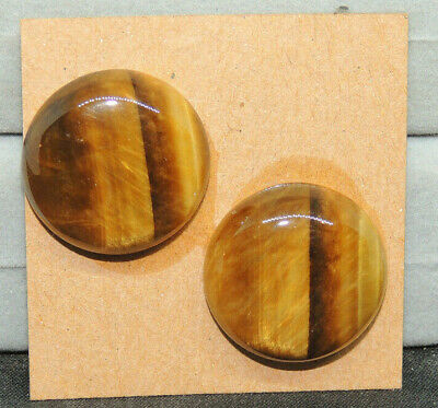 Tiger's Eye Cabochons 20mm with 6.5mm dome  Set of 2 From Africa (15016)