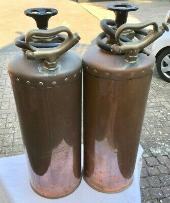 🔥 A Lovely Pair of Great Western Railway Copper Brass Fire Extinguishers