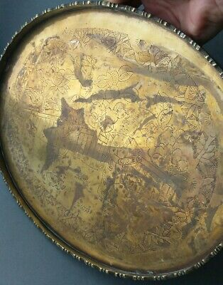 Vintage Antique Chinese Engraved Brass Tray.