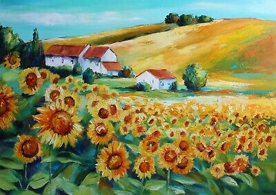 Sunflower painting oil on canvas original 20/27 in. Impasto Art Textured flower