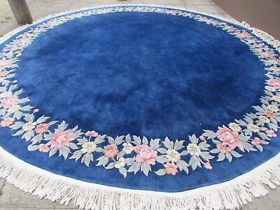 Old Hand Made Art Deco Chinese Oriental Blue Wool Large Round Carpet 390x390cm