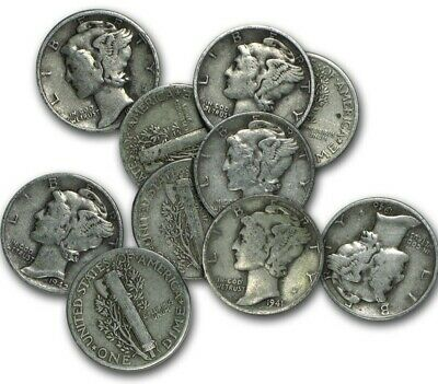 Mercury Dimes 1916-1945 , 90% Silver Coin Lot of 4 , Circulated