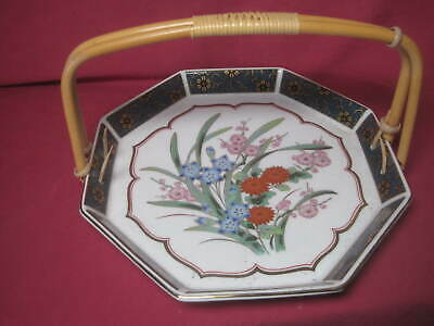 VTG Japanese Pottery Tea Plate w/bamboo handle Tea Ceremony 9 x 9 x 5 1/2 SIGNED