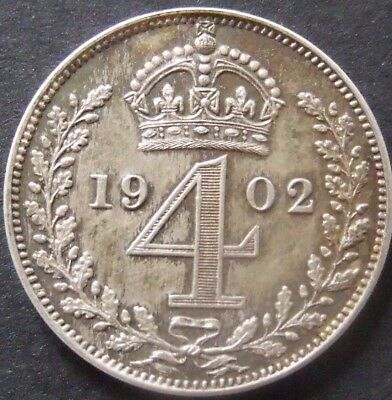 1902 EDWARD VII MAUNDY FOURPENCE.  Unc Collectable.               257/118