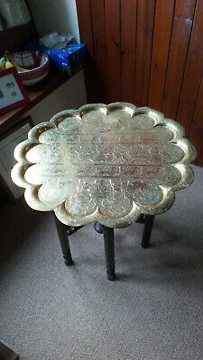Vintage Circular Folding Coffee Table Oriental Pattern Brass with Turned Legs.